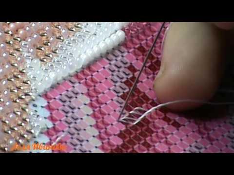 Вышивка бисером. Закрепление нити на изнанке