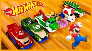 Hot Wheels Super Mario Character Cars 6 Set RACE & Review