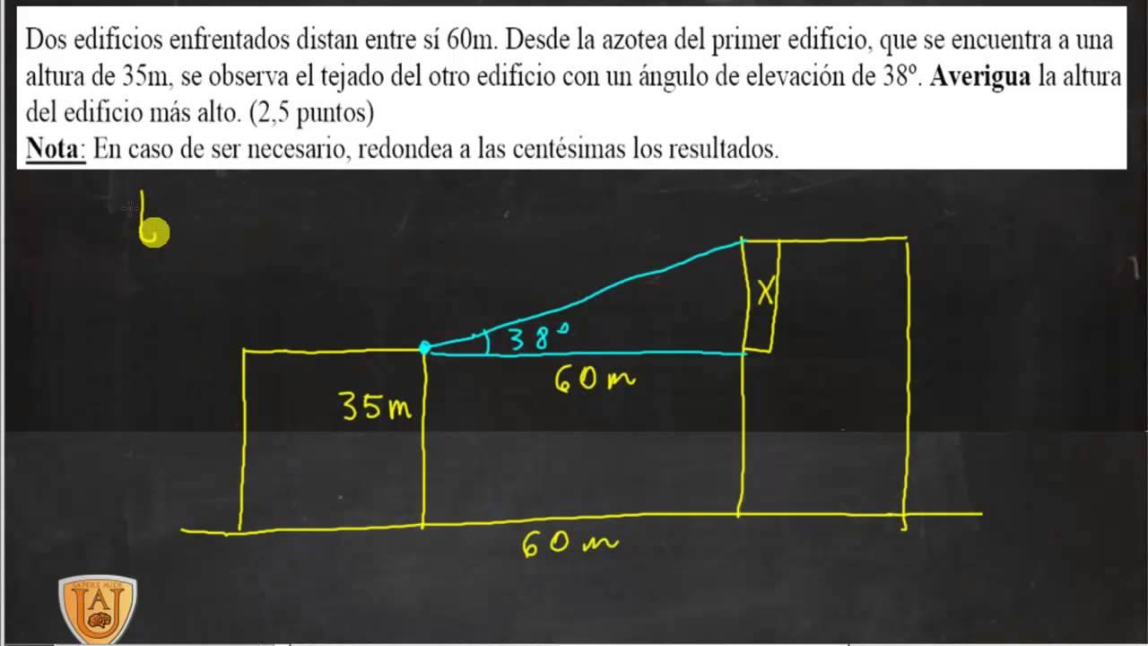 Ejercicios Trigonometricas Altura Edificio Matemáticas Acceso Ciclo Formativo Academia Usero