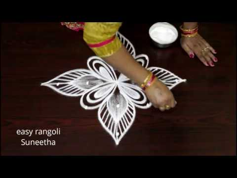 Cute Kolam Designs With 5 Dots  || Easy Rangoli  Muggulu || Beautiful  Designs For Beginners