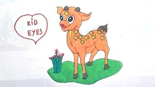 How to draw a Spotted Deer for kids ♪ Early childhood education ♪ Kid eyes