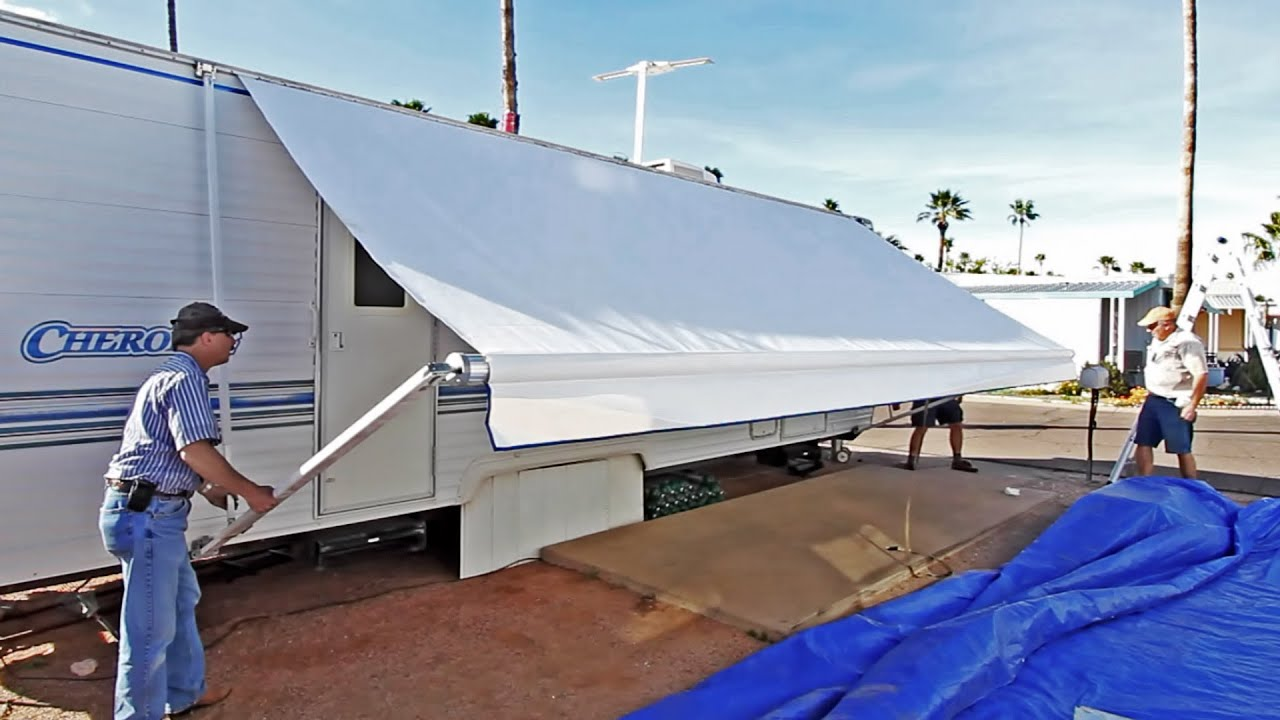 how to replace an rv patio awning new fabric discount youtube