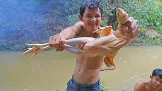 Cooking Chicken Recipe in Water Tank Extremely Delicious near River in Forest