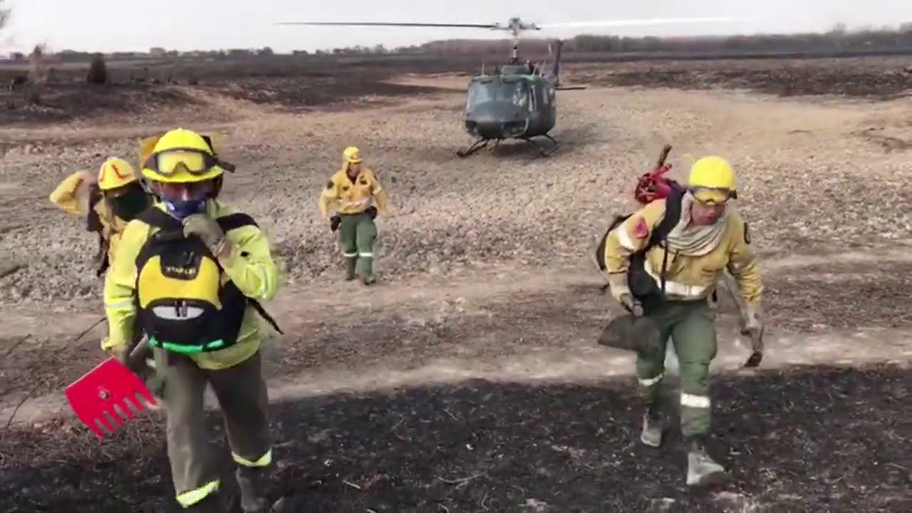 La Armada Argentina brinda apoyo al combate de los incendios forestales en Entre Ríos y Santa Fe