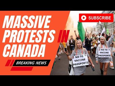 Massive protests in Canada against mandatory covid passports #VaccinePassports #Breaking #Canada