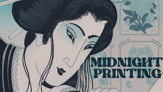 12 layer multicolor linocut print ''MIDNIGHT PRINTING'' by Emils Salmins