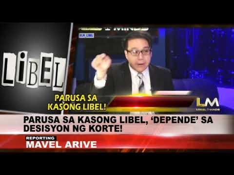 LEGAL MINDS: PARUSA SA LIBEL CASE NAKADEPENDE SA KORTE