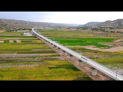"Viewed from above: Major ""Belt and Road"" high-speed railway in northwest China"