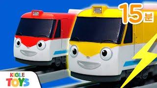 황금 로봇 기차 | 타요 장난감 캐리어카 상어가족 베이…