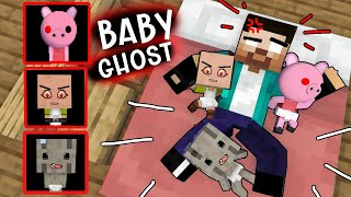 HEROBRINE TOOK CARE OF NAUGHTY CUTE BABY GHOSTS - BABY PIGGY , BABY MR.MEAT AND GRANNY - MINECRAFT