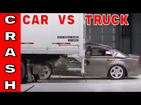 Car vs Semi Truck   Trailer underride crash testing