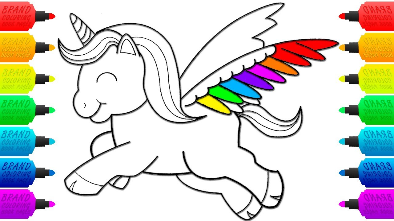 Drawing a Unicorn Coloring Page for Kids - YouTube