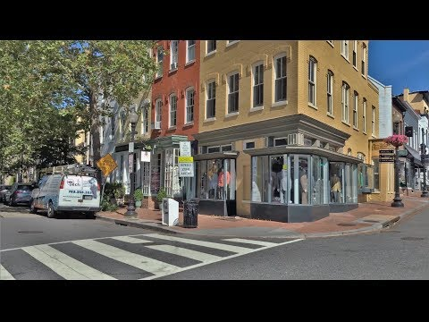 Driving Downtown - Georgetown - Washington DC USA 4K