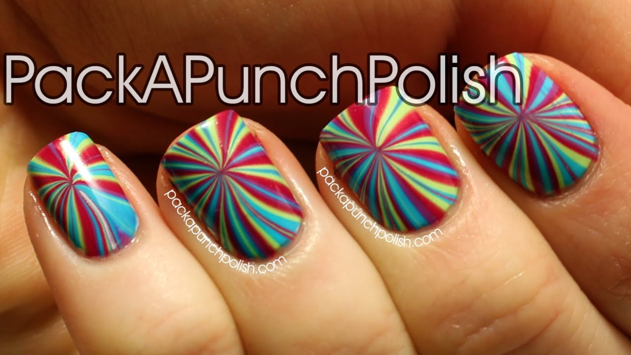 STAR BURST WATER MARBLE NAIL ART TUTORIAL - YouTube