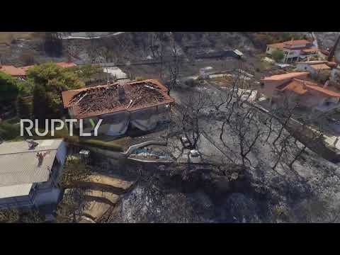 Greece: Drone footage captures destruction caused by forest fires north of Athens