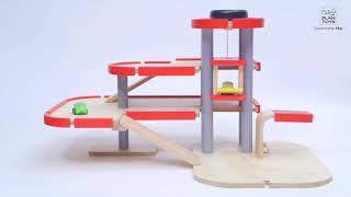 Деревянный гараж с машинками 50х36 см, Plan Toys, 6227P, Игроландия
