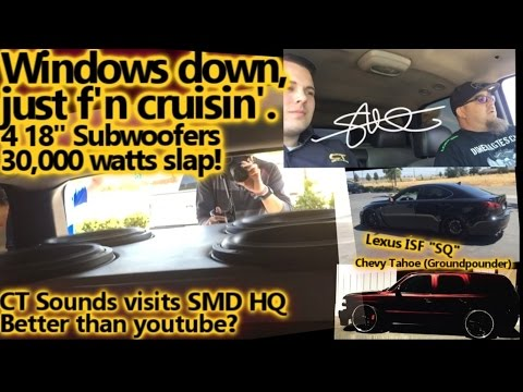 Windows Down...F'n Cruisin' - CT Sounds Visits SMD HQ - SOUND SYSTEM SQ & BASS Demos