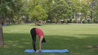 Healthy Indian lady doing Hastapadasana (standing forward bend pose) while standing on mat - healthy lifestyle