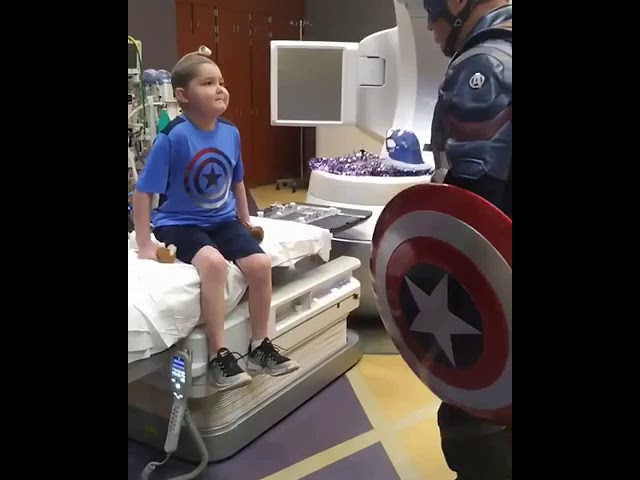 Captain America surprises boy on last day of radiation treatment