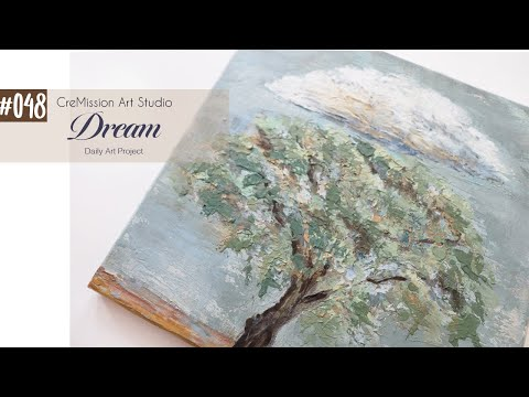 Cloud Landscape Painting using Acrylic and Modeling Paste / Art Project #048