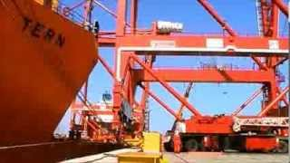 Unloading of container terminal cranes in Cotonou