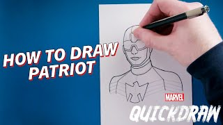 Learn How to Draw Patriot! | Marvel Quickdraw