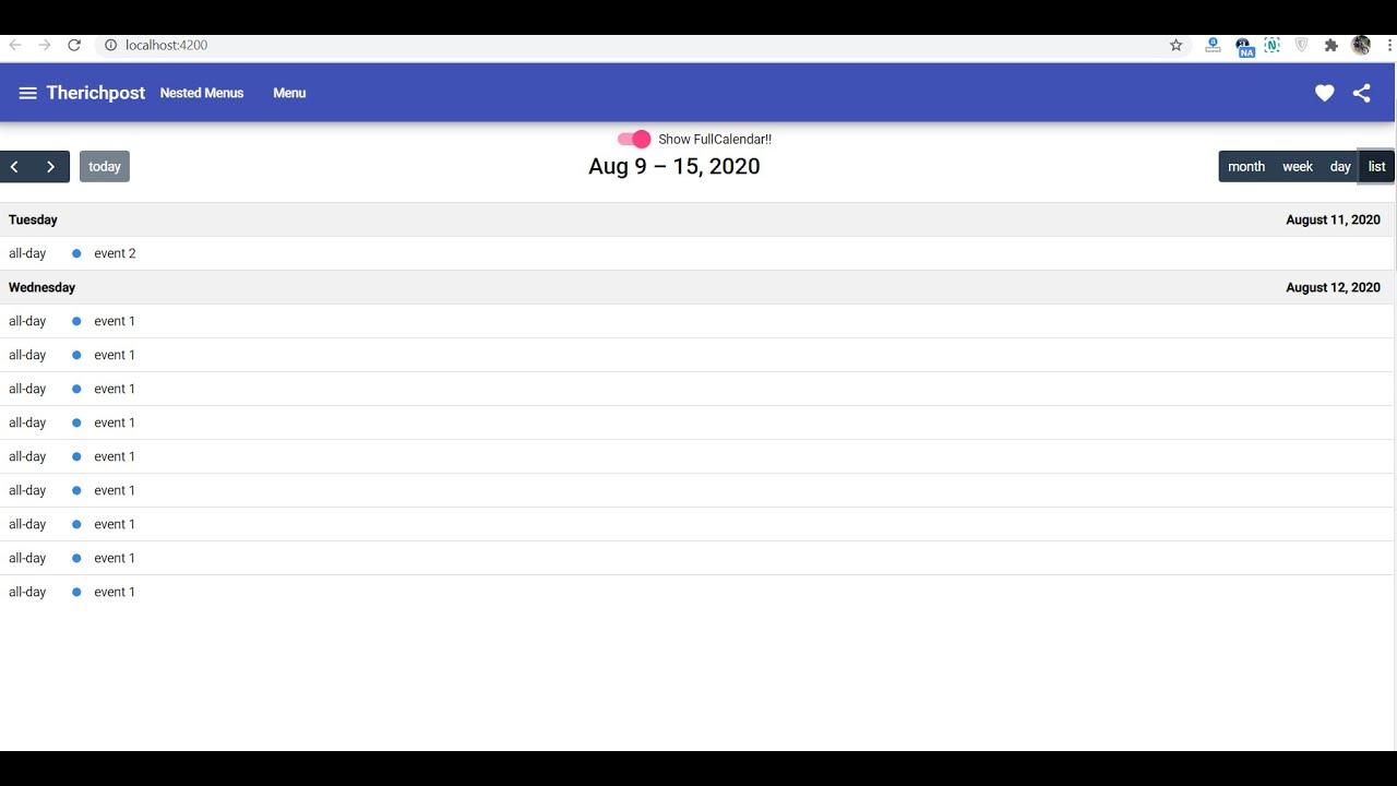 Angular 10 FullCalendar with Month Week Day ListWeek Views