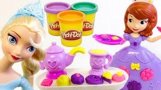 PLAY DOH juguetes de la Princesa Sofia en ESPAÑOL,plastilina(juego del te) thumbnail