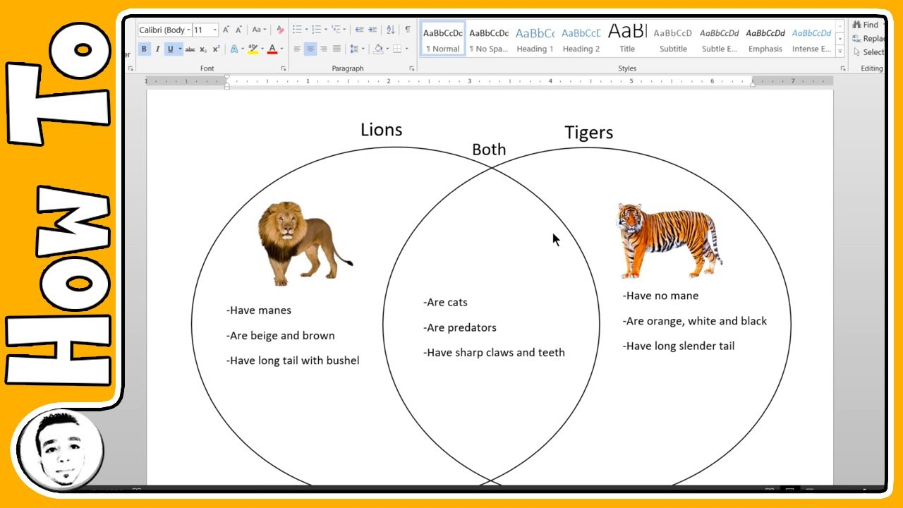 Make A Venn Diagram In Word Youtube