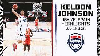 Highlights: Keldon Johnson 15 PTS, Team USA vs. Spain Exhibition Game