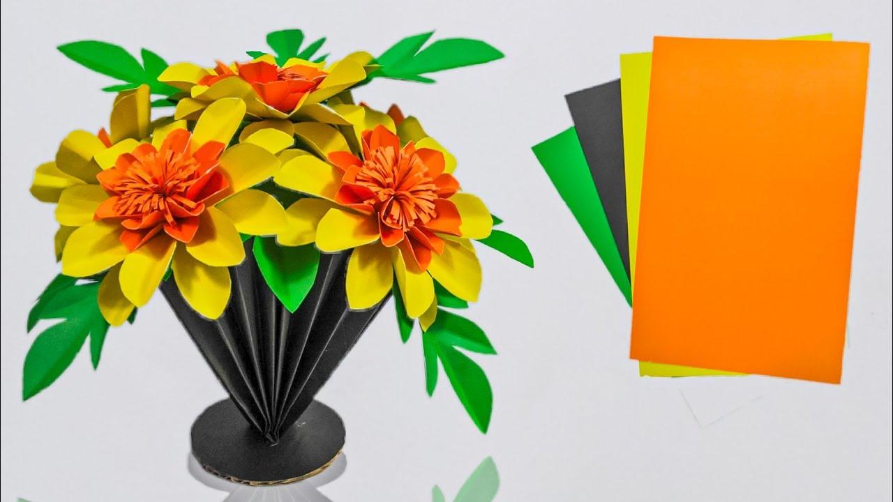 Cara Membuat Bunga Vas Lipat Dari Kertas Origami Dekorasi Hiasan Kreatif Youtube