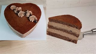 торт КОФЕЙНЫЙ БАРХАТ Сборка кофейного торта Бисквит в форме сердца ПОДРОБНО БАРХАТНЫЙ БИСКВИТ