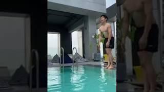 컴포트시즌 올라운드 반바지 레깅스 수영장 촬영