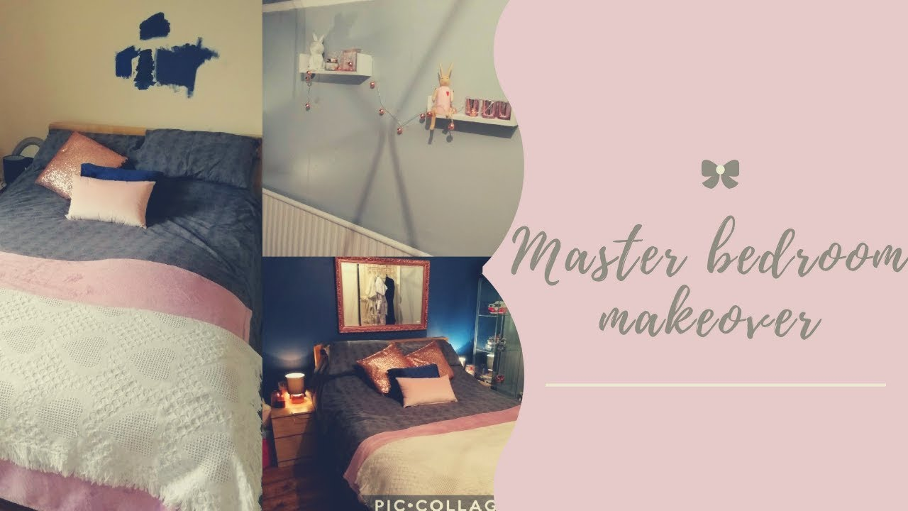 MASTER BEDROOM MAKE OVER/ UPCYCLED FURNITURE/ GREY, NAVY PINK BEDROOM