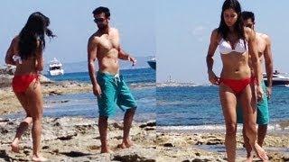 Katrina Kaif in bikini with Ranbir Kapoor at beach in Spain
