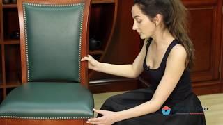 """Обзор классического офисного стула K-CH590 в сочетании изумрудной экокожи и дерева цвета """"черешня"""""""