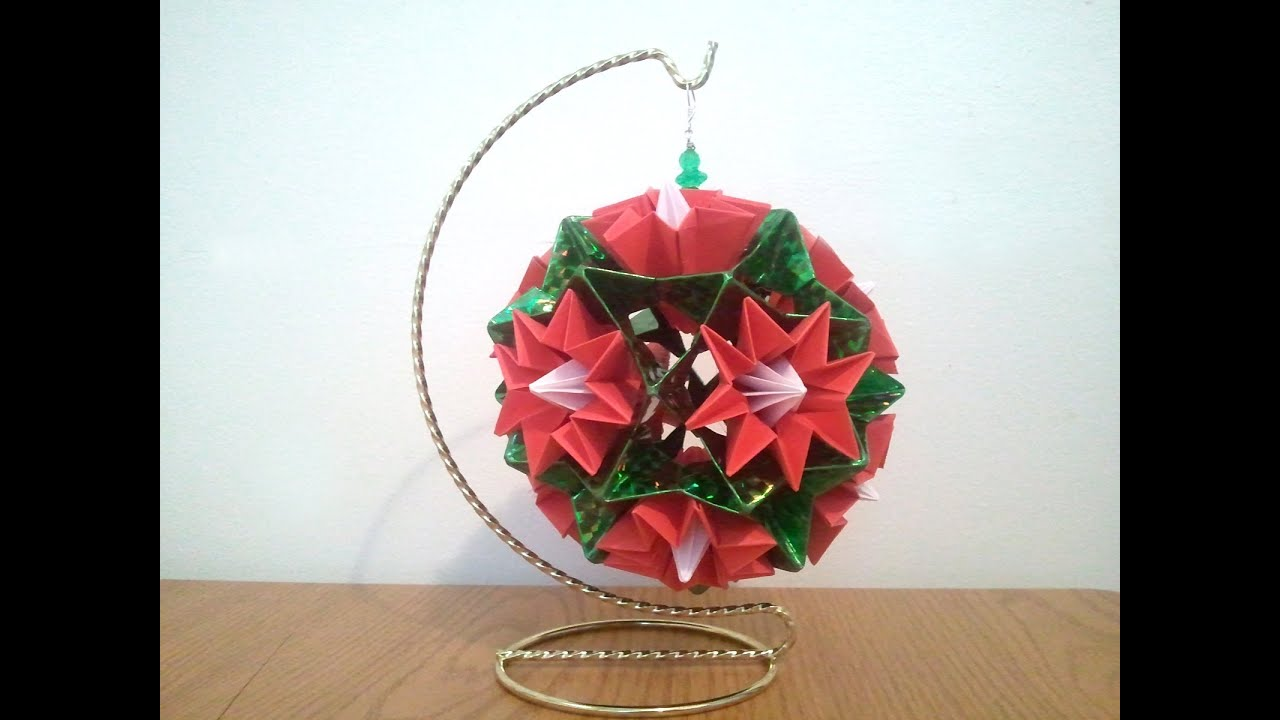 christmas origami flower diagram 1991 honda civic hatchback stereo wiring kusudama youtube