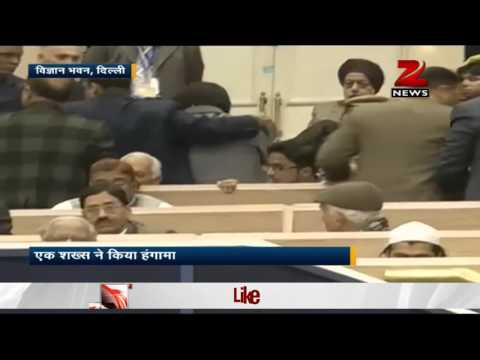 Man protest during PM's speech at Waqf function