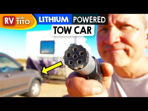Power Tow Car From RV's Lithium Batteries and Solar (DIY Project)