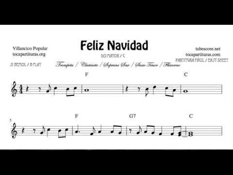 Feliz Navidad Clarinete.Feliz Navidad Partitura De Trompeta Clarinete Saxo Tenor Soprano Sax Fliscorno En Si Bemol Y Do Mayo