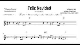 Feliz Navidad Partitura de Trompeta Clarinete Saxo Tenor Soprano Sax Fliscorno en Si bemol y Do Mayo