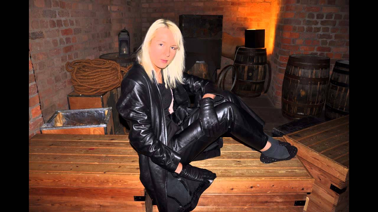 girl in leather gloves, pants, jacket - YouTube