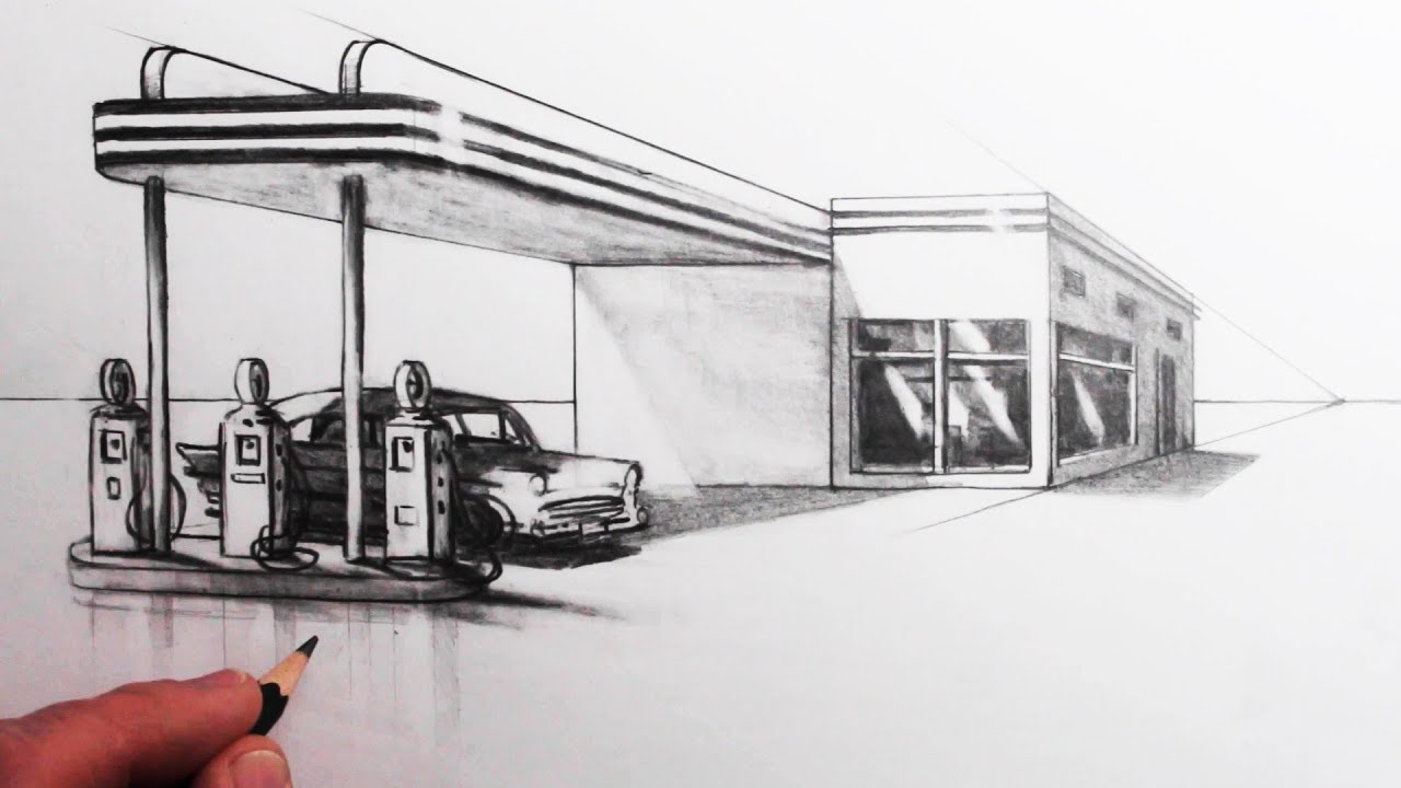 How To Draw A Building In 1 Point Perspective Draw A Gas Station Youtube