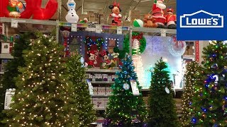 LOWES CHRISTMAS TREES DECORATIONS HOME DECOR - SHOP WITH ME SHOPPING STORE WALK THROUGH 4K
