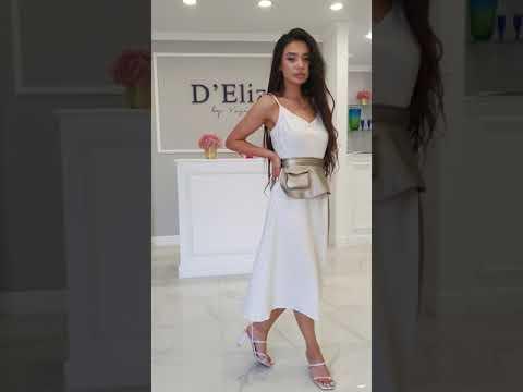 Летнее белое платье миди на бретельках 2021