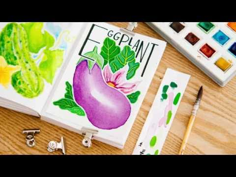 Twitch Art Session N°3 - Watercolor & Gouache Timelapse Speed Painting - Eggplant Illustration