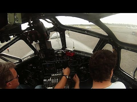 "B-24J Liberator ""Witchcraft"" Cockpit view startup and Takeoff"