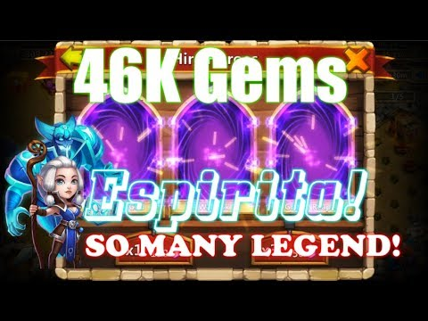 46K Gems Rolling For New Hero Espirita SO MANY LEGENDs! Castle Clash