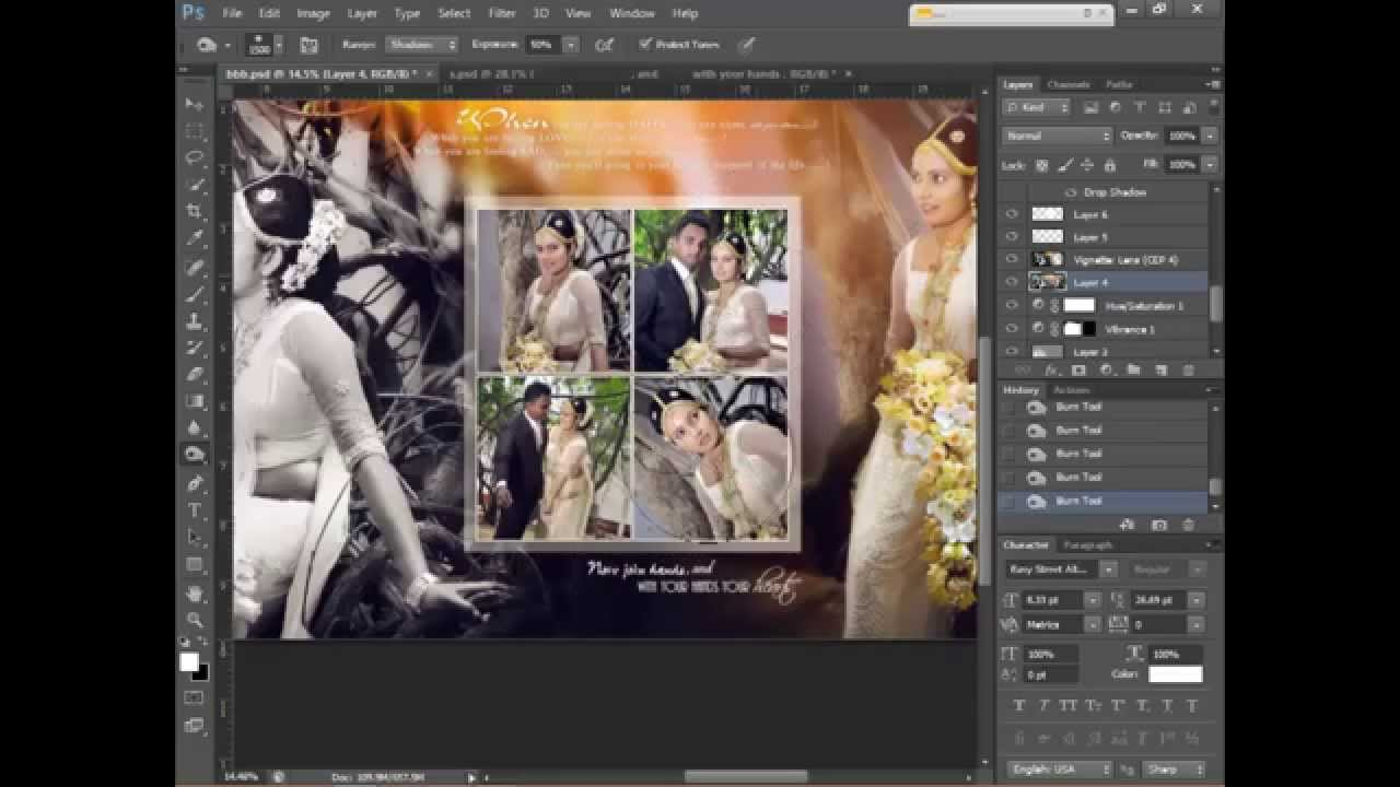 How To Design Wedding Album Page 1 using Adobe Photoshop CS6 HD