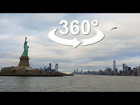 360 degree STATUE of LIBERTY, New York City, United States, VR 360 video